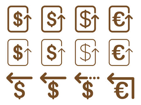 remake: Dollar and Euro Refund glyph icon set. Style is brown flat symbols isolated on a white background.