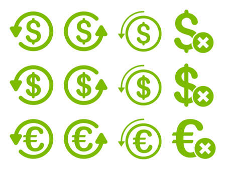 remake: Dollar and Euro Chargeback glyph icon set. Style is eco green flat symbols isolated on a white background.