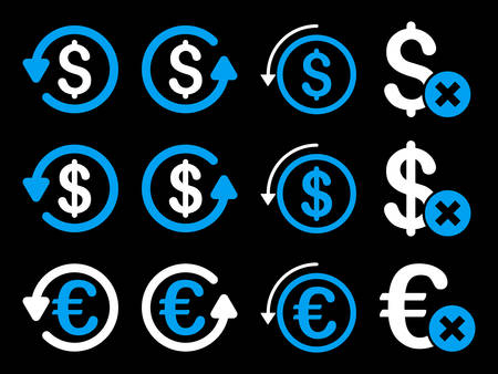 moneyback: Dollar and Euro Chargeback vector icon set. Style is blue and white flat symbols isolated on a black background.
