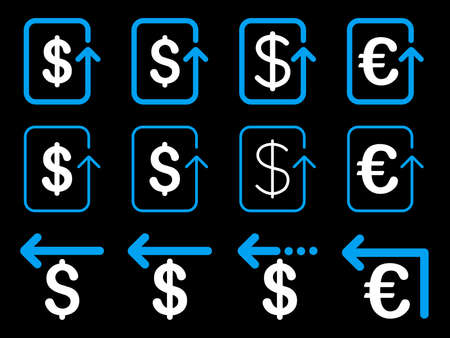 refund: Dollar and Euro Refund vector icon set. Style is blue and white flat symbols isolated on a black background.
