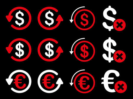 moneyback: Dollar and Euro Chargeback vector icon set. Style is red and white flat symbols isolated on a black background. Illustration