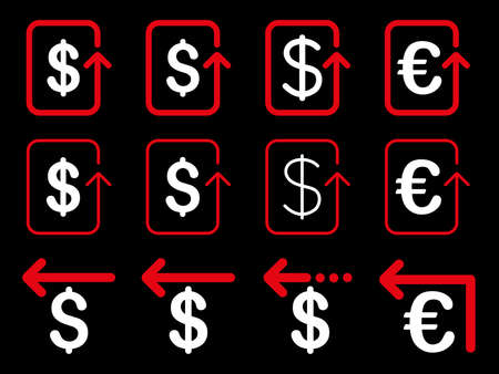 moneyback: Dollar and Euro Refund vector icon set. Style is red and white flat symbols isolated on a black background.
