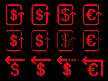 moneyback: Dollar and Euro Refund vector icon set. Style is red flat symbols isolated on a black background.