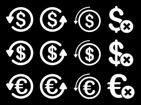 reverse: Dollar and Euro Chargeback vector icon set. Style is white flat symbols isolated on a black background.