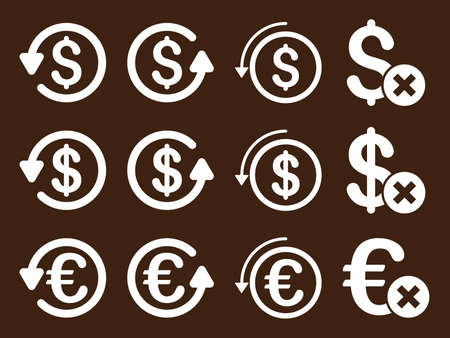 moneyback: Dollar and Euro Chargeback vector icon set. Style is white flat symbols isolated on a brown background. Illustration