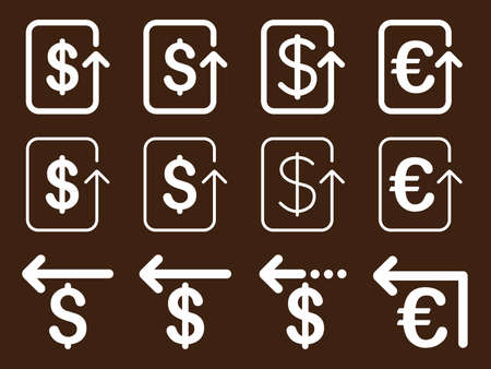 moneyback: Dollar and Euro Refund vector icon set. Style is white flat symbols isolated on a brown background.