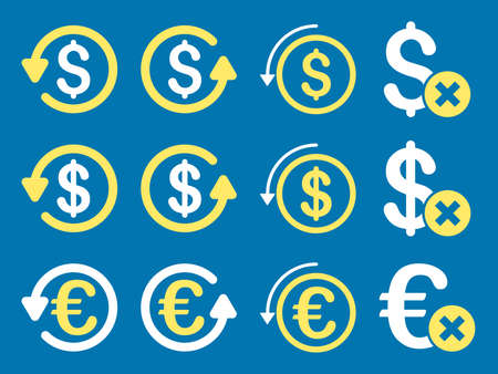 moneyback: Dollar and Euro Chargeback vector icon set. Style is yellow and white flat symbols isolated on a blue background.