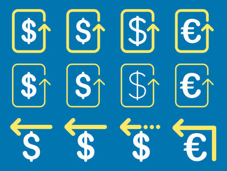 moneyback: Dollar and Euro Refund vector icon set. Style is yellow and white flat symbols isolated on a blue background.