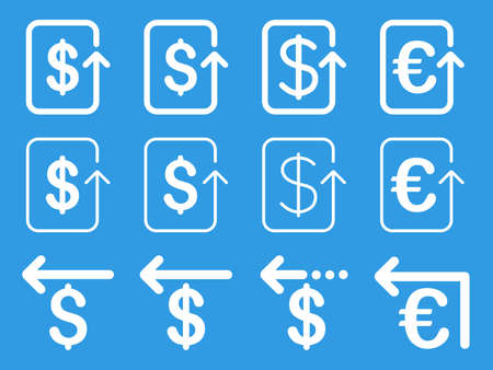 refund: Dollar and Euro Refund vector icon set. Style is white flat symbols isolated on a blue background.