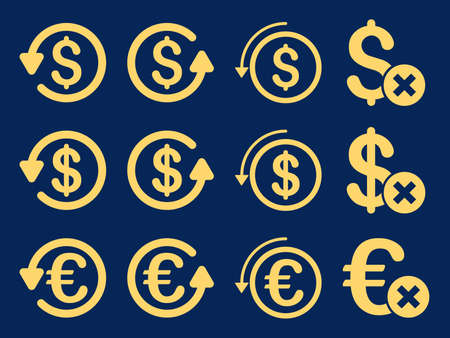 remake: Dollar and Euro Chargeback vector icon set. Style is yellow flat symbols isolated on a blue background.
