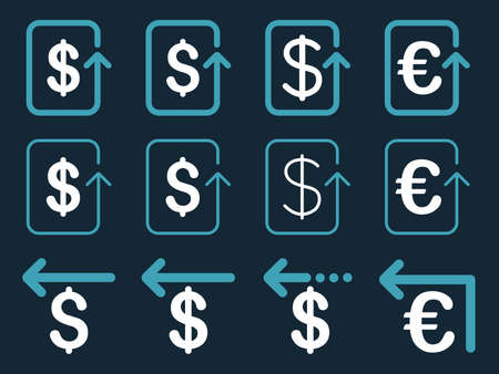 moneyback: Dollar and Euro Refund vector icon set. Style is blue and white flat symbols isolated on a dark blue background.