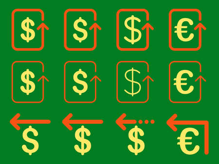 moneyback: Dollar and Euro Refund vector icon set. Style is orange and yellow flat symbols isolated on a green background.