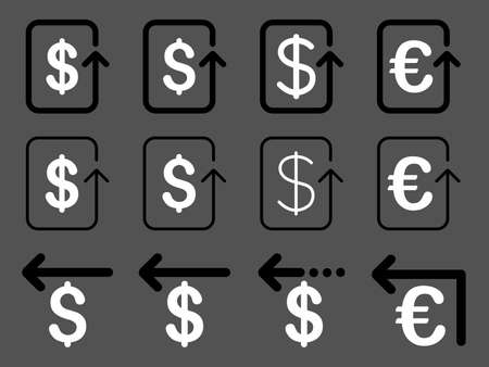 moneyback: Dollar and Euro Refund vector icon set. Style is black and white flat symbols isolated on a gray background.