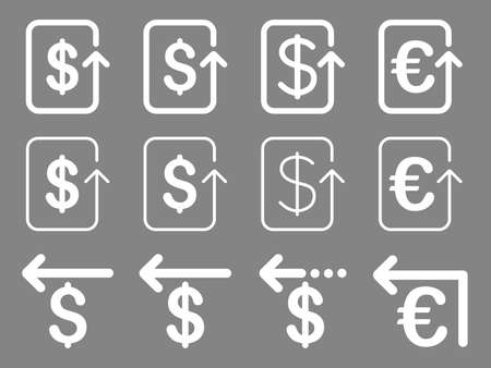moneyback: Dollar and Euro Refund vector icon set. Style is white flat symbols isolated on a gray background.