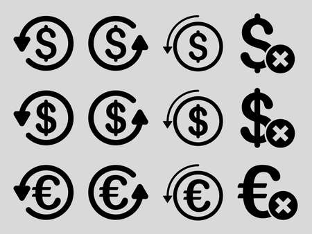moneyback: Dollar and Euro Chargeback vector icon set. Style is black flat symbols isolated on a light gray background. Illustration