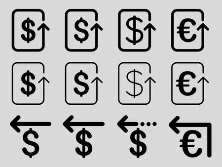 moneyback: Dollar and Euro Refund vector icon set. Style is black flat symbols isolated on a light gray background.