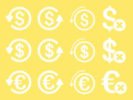 moneyback: Dollar and Euro Chargeback vector icon set. Style is white flat symbols isolated on a yellow background. Illustration