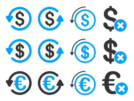 moneyback: Dollar and Euro Chargeback vector icon set. Style is blue and gray flat symbols isolated on a white background.