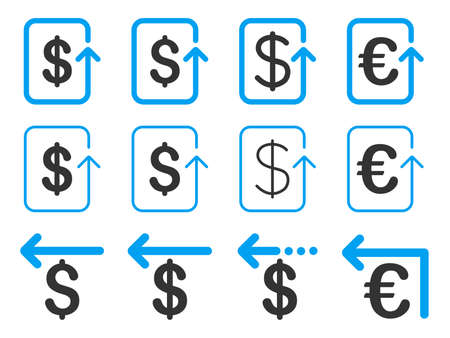 moneyback: Dollar and Euro Refund vector icon set. Style is blue and gray flat symbols isolated on a white background. Illustration