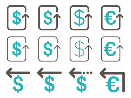 moneyback: Dollar and Euro Refund vector icon set. Style is grey and cyan flat symbols isolated on a white background.