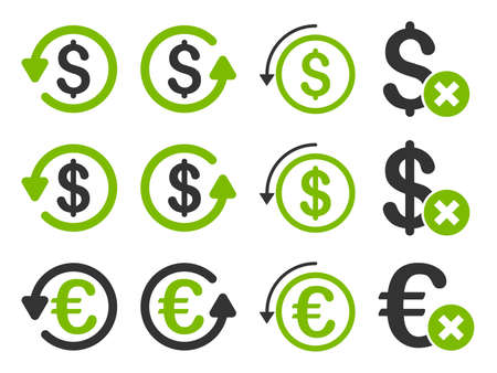moneyback: Dollar and Euro Chargeback vector icon set. Style is eco green and gray flat symbols isolated on a white background.