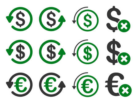 moneyback: Dollar and Euro Chargeback vector icon set. Style is green and gray flat symbols isolated on a white background.