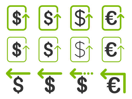 refund: Dollar and Euro Refund vector icon set. Style is eco green and gray flat symbols isolated on a white background.