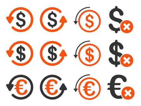moneyback: Dollar and Euro Chargeback vector icon set. Style is orange and gray flat symbols isolated on a white background.