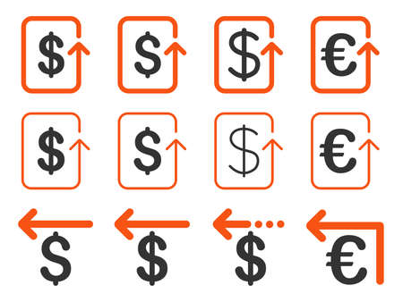 moneyback: Dollar and Euro Refund vector icon set. Style is orange and gray flat symbols isolated on a white background. Illustration