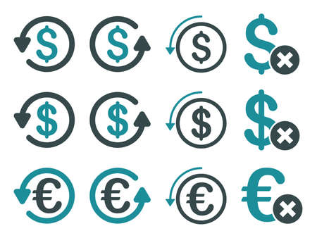 moneyback: Dollar and Euro Chargeback vector icon set. Style is soft blue flat symbols isolated on a white background.
