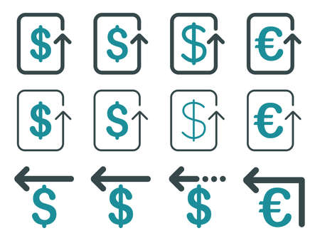 moneyback: Dollar and Euro Refund vector icon set. Style is soft blue flat symbols isolated on a white background.