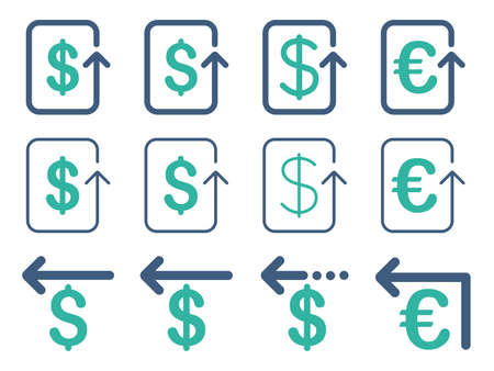 moneyback: Dollar and Euro Refund vector icon set. Style is cobalt and cyan flat symbols isolated on a white background.
