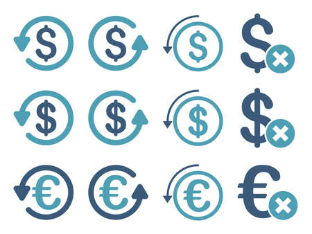 moneyback: Dollar and Euro Chargeback vector icon set. Style is cyan and blue flat symbols isolated on a white background.