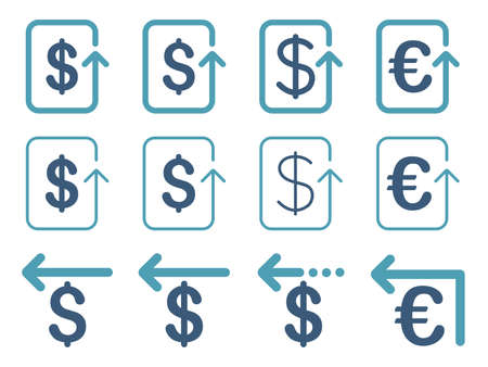 moneyback: Dollar and Euro Refund vector icon set. Style is cyan and blue flat symbols isolated on a white background. Illustration