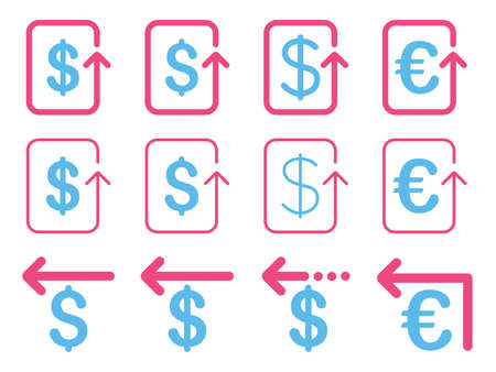 refund: Dollar and Euro Refund vector icon set. Style is pink and blue flat symbols isolated on a white background.