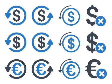 moneyback: Dollar and Euro Chargeback vector icon set. Style is smooth blue flat symbols isolated on a white background.