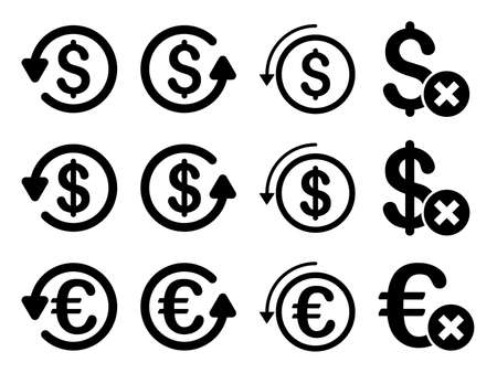 moneyback: Dollar and Euro Chargeback vector icon set. Style is black flat symbols isolated on a white background. Illustration