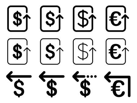 moneyback: Dollar and Euro Refund vector icon set. Style is black flat symbols isolated on a white background.