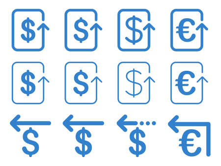 moneyback: Dollar and Euro Refund vector icon set. Style is cobalt flat symbols isolated on a white background.