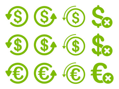 moneyback: Dollar and Euro Chargeback vector icon set. Style is eco green flat symbols isolated on a white background. Illustration