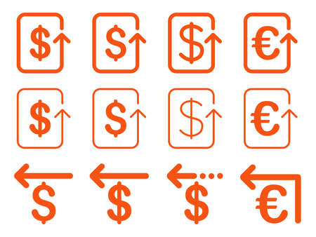 refund: Dollar and Euro Refund vector icon set. Style is orange flat symbols isolated on a white background.