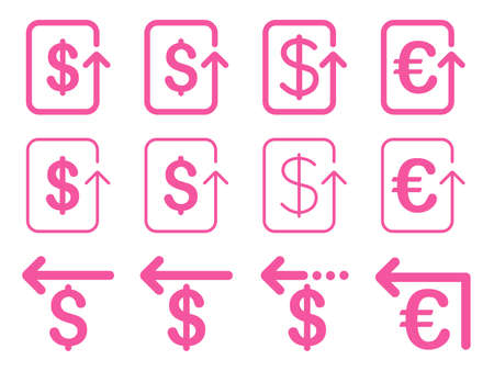 moneyback: Dollar and Euro Refund vector icon set. Style is pink flat symbols isolated on a white background. Illustration