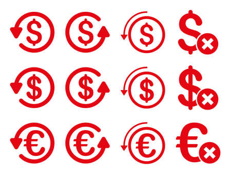 moneyback: Dollar and Euro Chargeback vector icon set. Style is red flat symbols isolated on a white background.