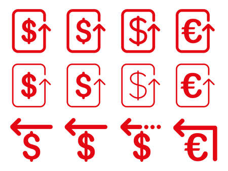 moneyback: Dollar and Euro Refund vector icon set. Style is red flat symbols isolated on a white background. Illustration