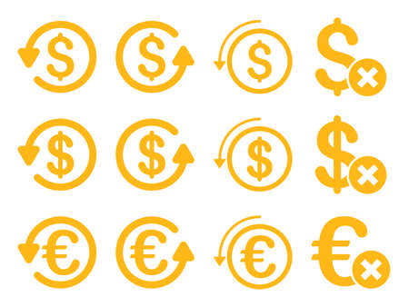 moneyback: Dollar and Euro Chargeback vector icon set. Style is yellow flat symbols isolated on a white background.