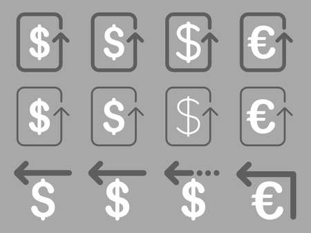 moneyback: Dollar and Euro Refund vector icon set. Style is dark gray and white flat symbols isolated on a silver background.