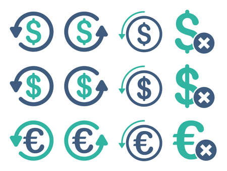 moneyback: Dollar and Euro Chargeback vector icon set. Style is cobalt and cyan flat symbols isolated on a white background.