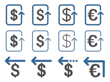 moneyback: Dollar and Euro Refund vector icon set. Style is cobalt and gray flat symbols isolated on a white background.