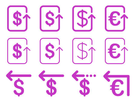 refund: Dollar and Euro Refund vector icon set. Style is violet flat symbols isolated on a white background. Illustration