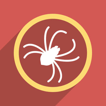 web crawler: Spider long shadow glyph icon. Style is a flat light symbol on a red square background.